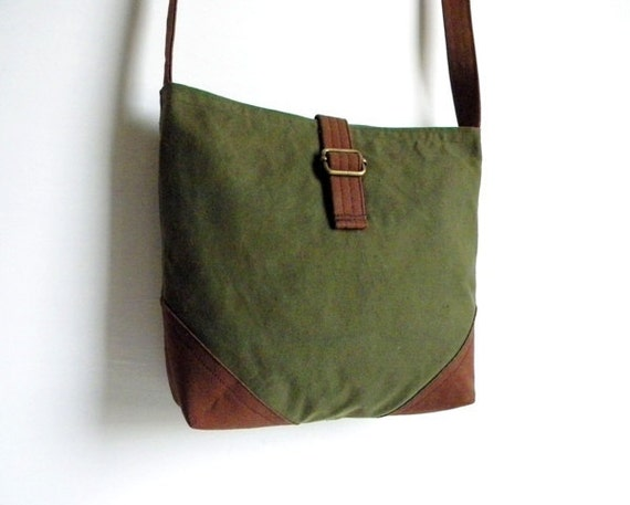 SALE Recycled Military Tent Canvas Cross Body Messenger Bag