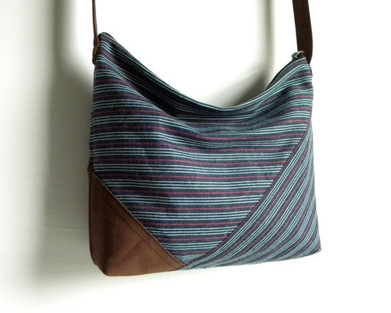Blue Striped Angles Cross Body Slouch Bag