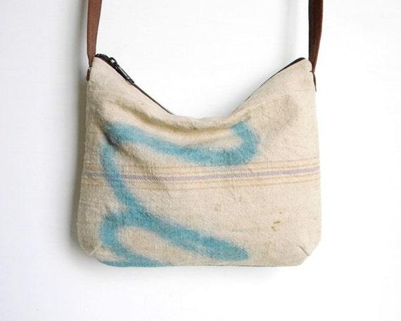 Graffiti Grain Sack Cross Body Slouch Bag