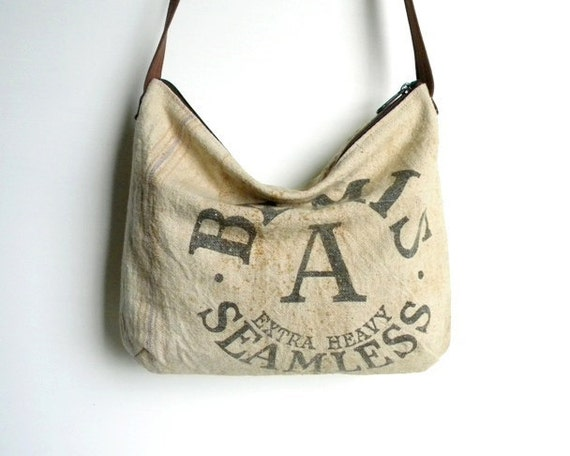 Recycled Grain Sack Hobo Shoulder Bag