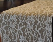 Dark Burlap and Lace Table Runner (7')  - Custom made table runners - Rustic Wedding Table Runner