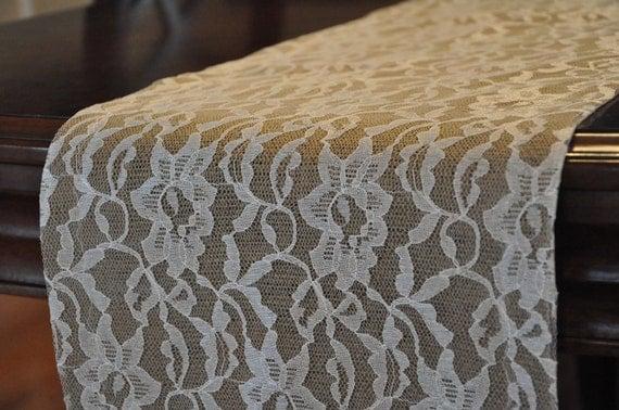 Dark Burlap and Lace Table Runner (7')  - Custom made table runners - Rustic Wedding Table Runner