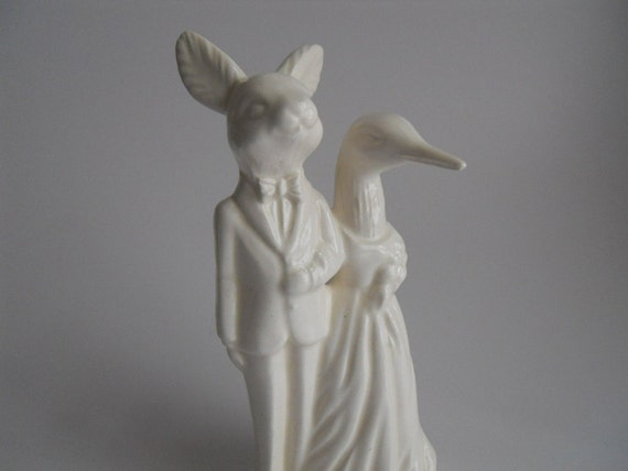 Rabbit and Loon wedding Cake Topper