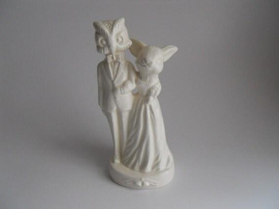 Rabbit and owl wedding Cake Topper