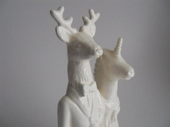 Deer and Unicorn wedding Cake Topper
