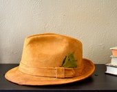 Back to School Vintage Mens Brown Fedora Hat Suede Churchill Ltd with Feather 7 1/8