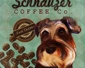 Schnauzer Coffee Co. - 12X12 Modern Vintage Giclee Print - Mixed Media - LHA-295-33