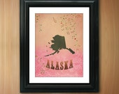 Alaska State Map Art - 8.5X11 Reminiscence Alaska Map -  Giclee Print - LHA-297-03