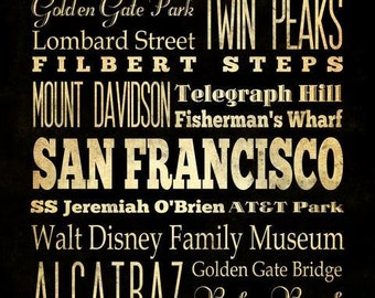 San Francisco, California, Typography Art  Canvas/Bus/Transit/ Subway Roll Art 20X24-San Francisco's Attractions Wall Art Decoration-LHA-19