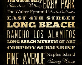 Long Beach, California, Typography Art  Canvas / Bus / Transit / Subway Roll Art 20X24-Long Beach's Attractions Wall Art Decoration-LHA-172