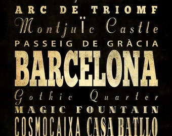 Barcelona, Spain, Typography Art  Canvas/ Bus/Transit/Subway Roll Art 20X24-Barcelona's Attractions Wall Art Decoration-LHA-231