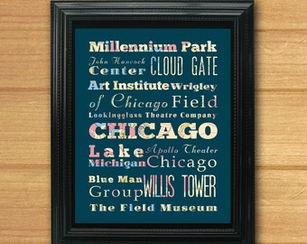 Chicago, Illinois, Typography Art Poster / Bus / Transit/Subway Roll Art 8X10-Chicago's Attractions Wall Art Decoration-C07-LHA-181