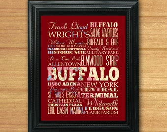 Buffalo, New York, Typography Art Poster/ Bus / Transit / Subway Roll Art 8X10-Buffalo's Attractions Wall Art Decoration-C08-LHA-211