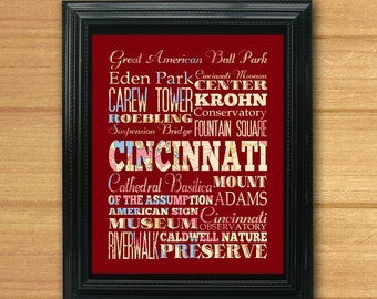 Cincinnati, Ohio, Typography Art Poster/ Bus / Transit/Subway Roll Art 8X10-Cincinnati's Attractions Wall Art Decoration-C08-LHA-212