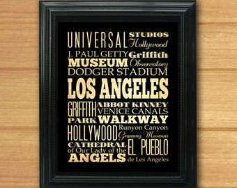 Los Angeles, California, Typography Art Poster / Bus / Transit / Subway Roll Art 8X10-Los Angeles' Attractions Wall Art Decoration-LHA-207