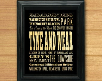 Tyne And Wear, United Kingdom, Typography Subway Roll Art Poster -Tyne And Wear's Attractions Wall Art Decoration-LHA-286