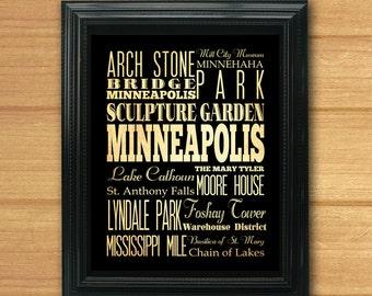 Minneapolis, Minnesota, Typography Art Poster / Bus / Transit / Subway Roll Art 8X10-Minneapolis' Attractions Wall Art Decoration-LHA-200
