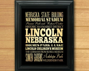 Lincoln, Nebraska, Typography Art Poster/Bus/Transit/Subway Roll Art 8X10-Lincoln's Attractions Wall Art Decoration-LHA-299