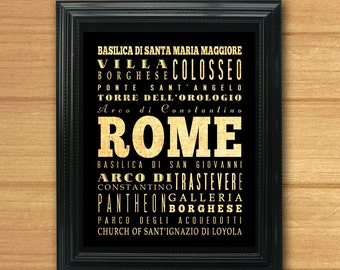 Rome, Italy, Typography Art Poster/Bus/Transit/Subway Roll Art 8X10-Rome's Attractions Wall Art Decoration-LHA-282