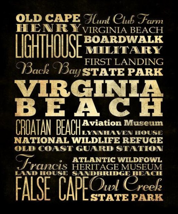 Virginia Beach,Virginia,Typography Art  Canvas/Bus/Transit/SubwayRoll Art 20X24-Virginia Beach's Attractions Wall Art Decoration- LHA-20