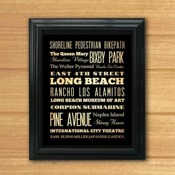 Long Beach, California, Typography Art Poster / Bus / Transit / Subway Roll Art 8X10-Long Beach's Attractions Wall Art Decoration-LHA-172