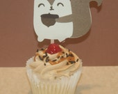 Qty 4 Woodland squirrel cupcake toppers