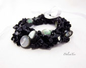 Wraped stone bracelet, black & grey natural stones with white ribbon