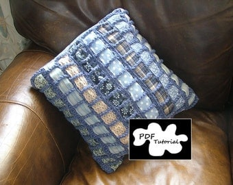 Crochet pillow, cushion cover pdf tutorial/ pattern using fabric scraps. Woven. Upcycled.
