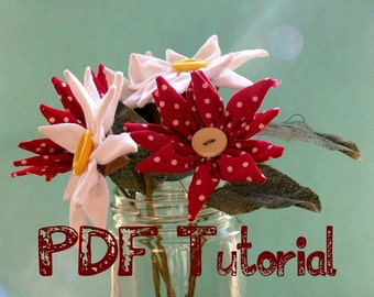 Fabric flower (daisy) tutorial. PDF Pattern instant download