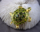 Vintage Brooch Turtle Pin Green Rhinestones Large