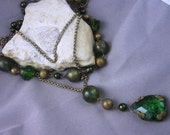Vintage Necklace Three Strand Green Beads Glass Pendant Beautiful