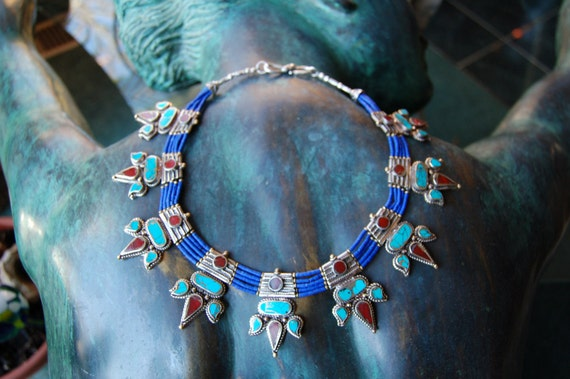 Nepali silver necklace, turquoise and coral inlay, lapis lazuli beads