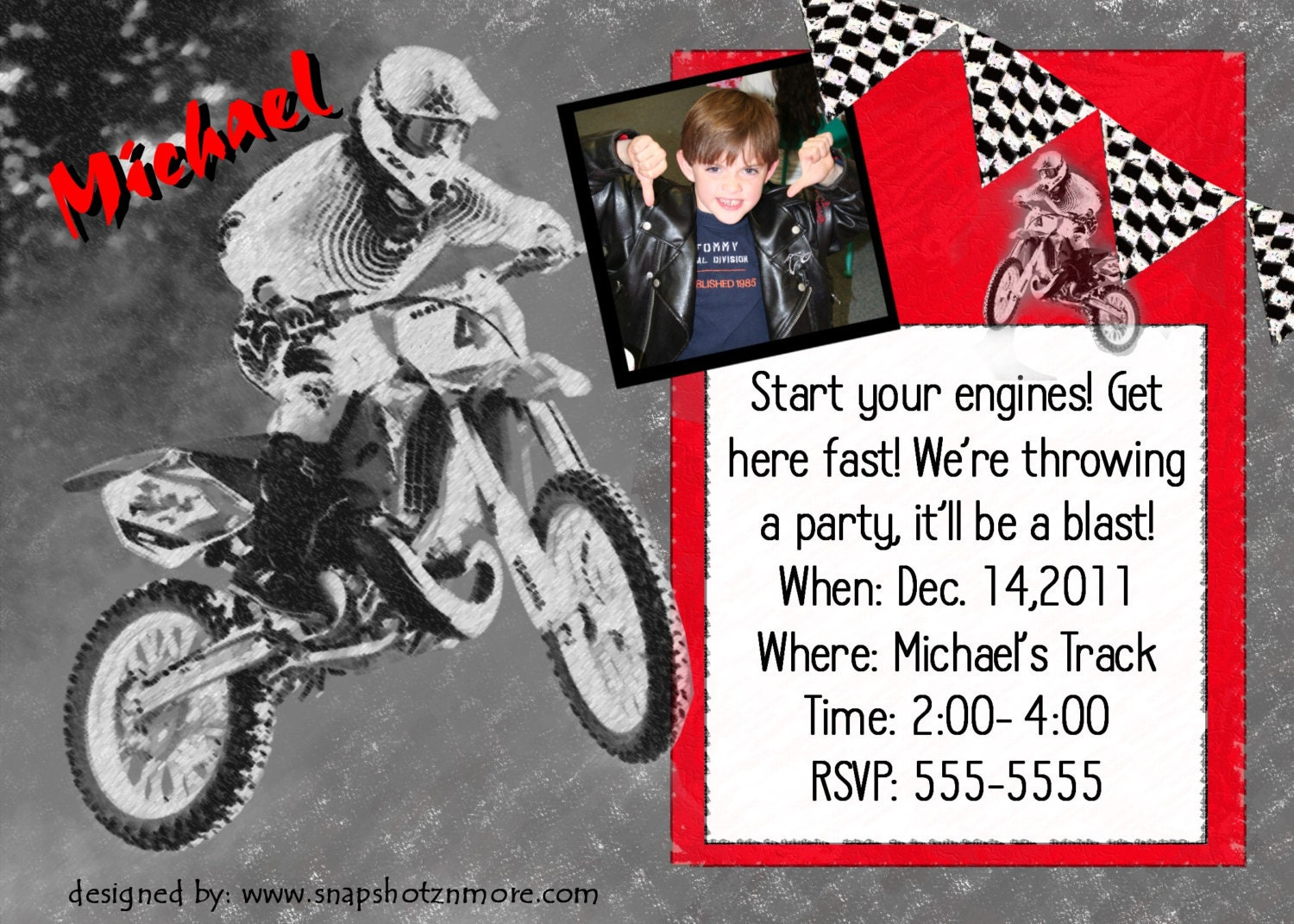 Motocross Birthday Party Invitation Card Personalized