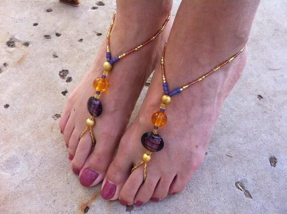 Pharaoh's Fortune Flings (Foot Bling :) Gold, Purple, Blue & Orange Sandals