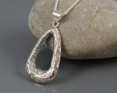 Sterling Silver Tear Drop Pendant Necklace - Cuttlebone Casting - OOAK