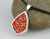 Sterling Silver and Beadwork Pendant Necklace - Bella Moth - Utethesia ornatrix