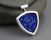 Sterling Silver and Beadwork Pendant Necklace - Hamadryas amphinome