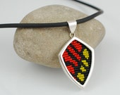 Sterling Silver and Beadwork Pendant Necklace - Fiery Campylotes