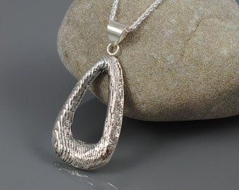 Sterling Silver Tear Drop Pendant Necklace - Cuttlebone Casting - OOAK