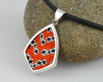Sterling Silver and Beadwork Pendant Necklace - Bella Moth - Utethesia ornatrix