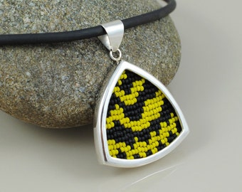 Locust Underwing Beadwork and Sterling Silver Pendant Necklace - Euparthenos nubilis