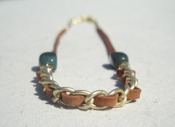 Unique Necklace - Tan Leather Woven in Matte Gold Chain - Emerald Green Stones