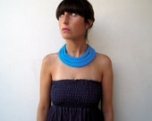 The triple braid necklace - handmade in calypso blue fabric