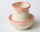 Ceramic Creamer and Sugar Bowl in Coral Red
