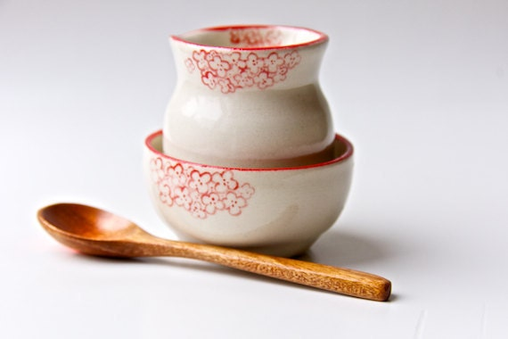 Creamer and Sugar Set in Red