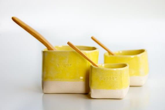 Ceramic Salt,  Pepper, and Sugar Cellars in Yellow