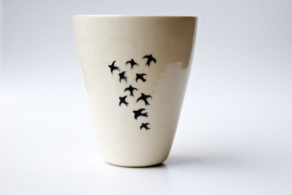 Ceramic Vase in Blue and Cream- Birds