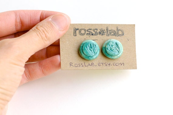 Earrings in Green, Ceramic and Handmade