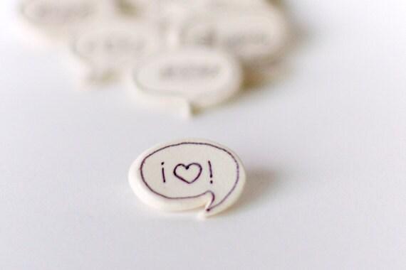 Ceramic Speech Bubble Brooch, Black Heart on White
