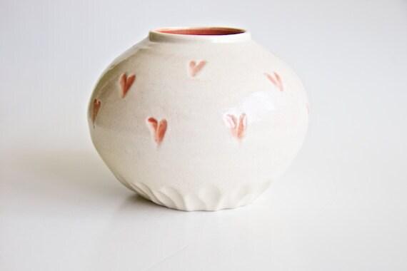 Ceramic Vase in Coral with Hearts